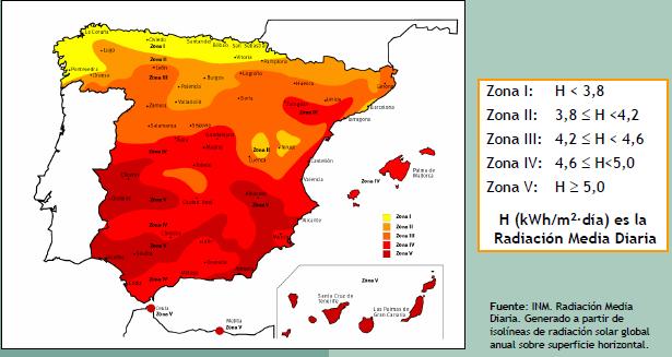 mapa radiación solar